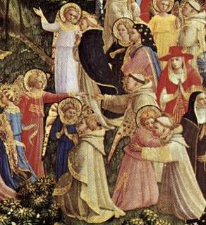 detail of Fra Angelico's Last Judgement - meeting one's guardian angel